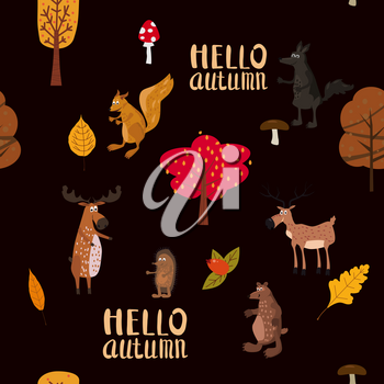 Autumn forest cute animals seamless pattern with trees leaves