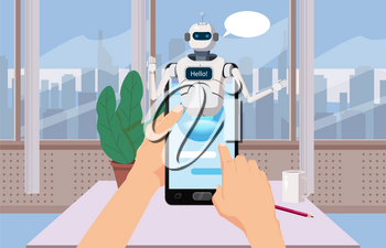 Hands Hold Smartphone Free Chat Bot, Robot Virtual Assistance On Smartphone Say Hello