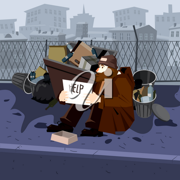 Homeless sad poor person male character beg help money near the garbage containers
