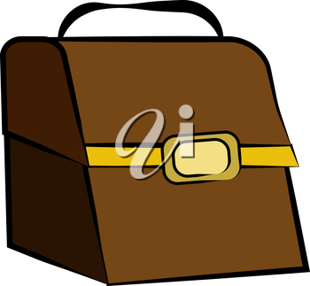 A closed brown leather lunch box or treasure chest with black handle & yellow border & buckle vector color drawing or illustration
