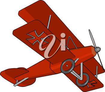 A biplane is a fixed winged airplane with two main wings stacked one above the other It produces more than monoplane wing or vector color drawing or illustration