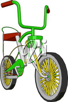 A child bicycle with two wheels one seat handles to hold and ride the cycle effectively Biking is a fun way for children of all ages to get active and stay fit vector color drawing or illustration