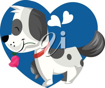 Black and white dog holding a pink rose in his mouth vector illustration in blue heart on white background.