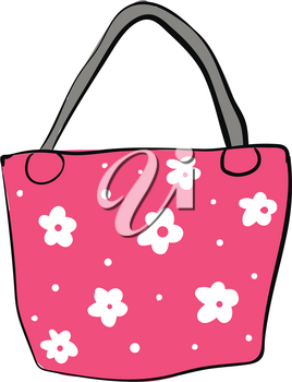 Pink bag with white flowers and grey handle vector illustration on white background