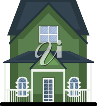 Cartoon green building with blue roof vector illustartion on white background