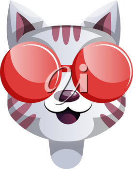 Cartoon cat with red sunglasses vector illustartion on white background