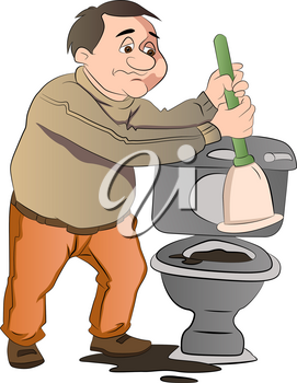 Man Cleaning a a blocked Toilet, vector illustration