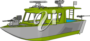 3D vector illustration on white background of a grey and green military boat