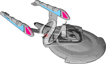 Fantasy Imperial spaceship vector illustration on white background