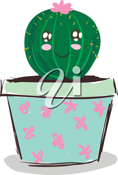 Happy cactus with pink flower vector or color illustration