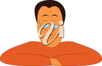 A funny man with glasses on his nose is wearing an orange-colored shirt vector color drawing or illustration