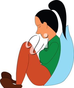 Abstract cartoon of a sad girl  vector illustration on white background