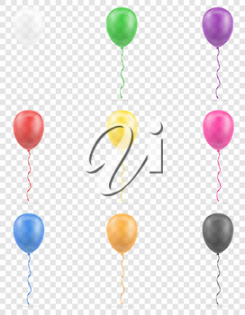 celebratory transparent balloons pumped helium with ribbon stock vector illustration isolated on white background