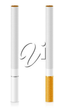 cigarettes with yellow and white filter stock vector illustration isolated on background