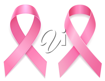 pink ribbon breast cancer awareness stock vector illustration isolated on white background