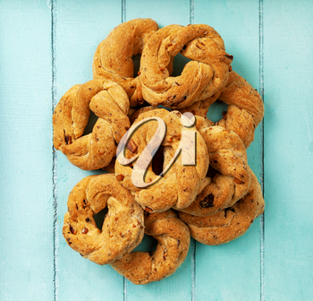 Neapolitan cookies called Taralli. They are made in Naples with pig suet, almonds and black pepper.