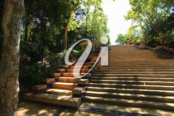 Barcelona, Spain - July 23 2013: Stairs on Passeig de jean forestier