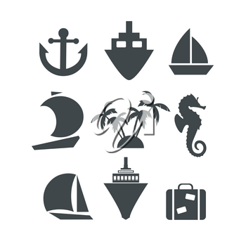 Silhouette icons set of trip voyage cruise with sea Horse