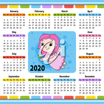 Young tooth fairy in a dress with wings and a magic wand. Calendar for 2020 with a cute character. Fun and bright design. Isolated color vector illustration. Cartoon style.