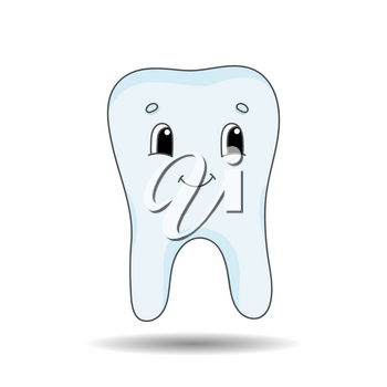 A healthy tooth without caries is smiling. Cute character. Colorful vector illustration. Cartoon style. Isolated on white background. Design element.
