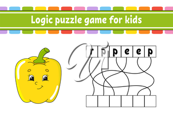Logic puzzle game. Learning words for kids. Vegetable pepper. Find the hidden name. Worksheet, Activity page. English game. Isolated vector illustration. Cartoon character.