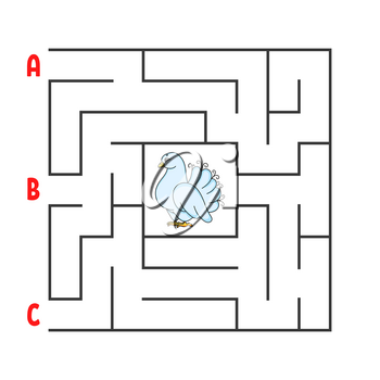 Square maze. Game for kids. Puzzle for children. Cartoon character dove. Labyrinth conundrum. Color vector illustration. Find the right path. The development of logical and spatial thinking.