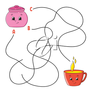 Easy maze. Sugar bowl and cup. Labyrinth for kids. Activity worksheet. Puzzle for children. Cartoon character. Logical conundrum. Color vector illustration.