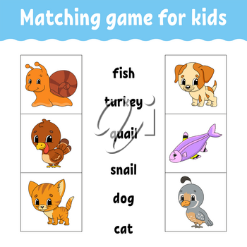 Matching game for kids. Find the correct answer. Draw a line. Learning words. Activity worksheet. Cartoon character.