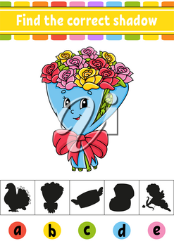 Find the correct shadow. Education developing worksheet. Activity page. Valentine's Day. Color game for children. Isolated vector illustration. Cartoon character.