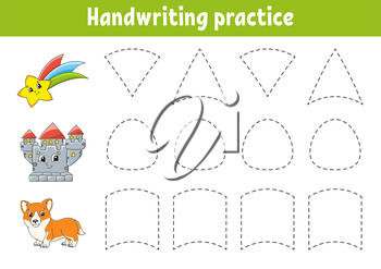 Handwriting pactice. Education developing worksheet. Activity page. Color game for children. Isolated vector illustration. Cartoon character.