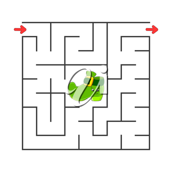 Square maze. Game for kids. Puzzle for children. Cartoon character. Labyrinth conundrum. Color vector illustration. Find the right path. The development of logical and spatial thinking.