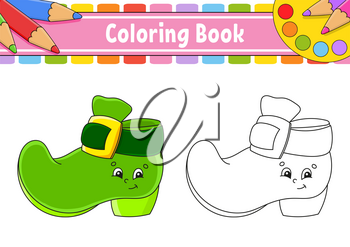 Coloring book for kids. St. Patrick's day. Cartoon character. Vector illustration. Black contour silhouette. Isolated on white background.