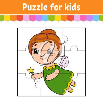 Puzzle game for kids. Jigsaw pieces. Color worksheet. Activity page.Isolated vector illustration. Cartoon style.