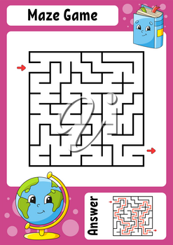 Square maze. Game for kids. Funny labyrinth. Education developing worksheet. Activity page. Puzzle for children. Cartoon style. Back to school. Logical conundrum. Color vector illustration.