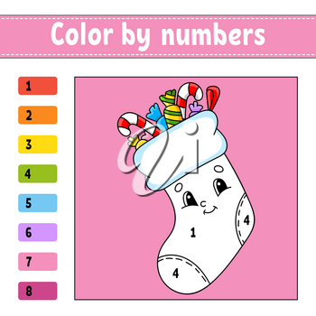Color by numbers. Christmas theme. Activity worksheet. Game for children. Cartoon character. Vector illustration.