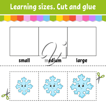 Learning sizes. Cut and glue. Easy level. Christmas theme. Color activity worksheet. Game for children. Cartoon character. Vector illustration.