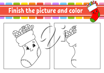 Finish the picture and color. Christmas theme. Cartoon character isolated on white background. For kids education. Activity worksheet.
