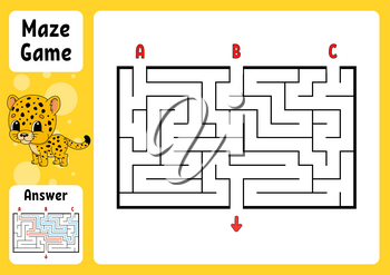 Rectangle maze. Game for kids. Three entrances, one exit. Puzzle for children. Labyrinth conundrum. Color vector illustration. Find the right path. With answer. Cartoon character. Education worksheet.
