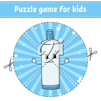 Cut and play. Round puzzle. Tube of toothpaste. Logic puzzle for kids. Activity page. Cutting practice for preschool. Cartoon character.