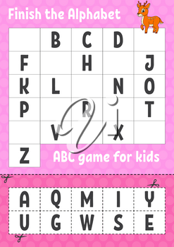 Finish the alphabet. ABC game for kids. Cut and glue. Education developing worksheet. Learning game for kids. Color activity page.