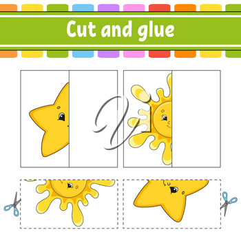 Cut and play. Paper game with glue. Flash cards. Education worksheet. Activity page. Funny character. Isolated vector illustration. Cartoon style.
