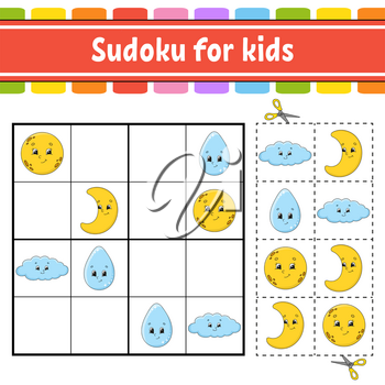 Sudoku for kids. Education developing worksheet. Activity page with pictures. Puzzle game for children. Logical thinking training. Isolated vector illustration. Funny character. Cartoon style.