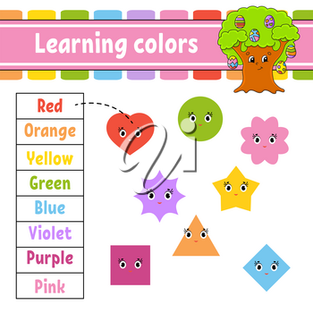 Learning colors. Education developing worksheet. Easter egg tree. Activity page with pictures. Game for children. Isolated vector illustration. Funny character. Cartoon style.