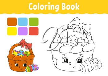 Coloring book for kids. Easter basket. Cheerful character. Vector illustration. Cute cartoon style. Fantasy page for children. Black contour silhouette. Isolated on white background.