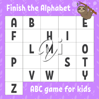 Finish the alphabet. ABC game for kids. Education developing worksheet. Brown sloth. Learning game for kids. Color activity page.
