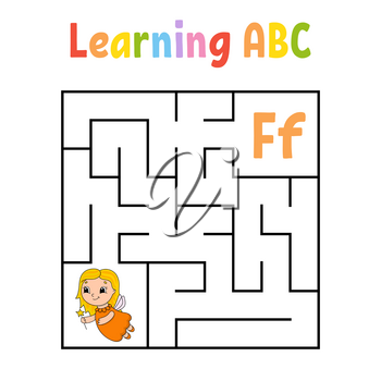 Square maze. Game for kids. Quadrate labyrinth. Education worksheet. Activity page. Learning alphabet. Cute cartoon style. Find the right way. Logical conundrum. Color vector illustration.