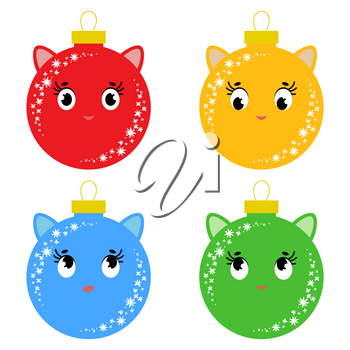 Set of flat colored isolated Christmas balls in the shape of balls. Cartoons cats. Simple design on a white background