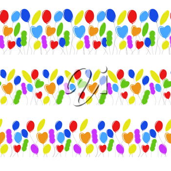 Seamless border of flat colored isolated balloons in different shapes. Simple flat vector illustration. Suitable for greeting card and magazines
