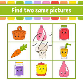 Find two same pictures. Task for kids. Education developing worksheet. Activity page. Game for children. Funny character. Isolated vector illustration. Cartoon style