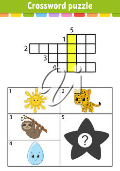 Crossword puzzle. Education developing worksheet. Activity page for study English. With color pictures. Game for children. Isolated vector illustration. Funny character. Cartoon style